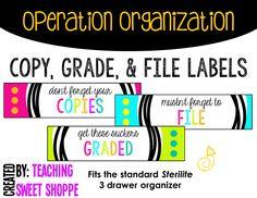 Copy, grade, file labels for Sterilite 3 drawer organizers