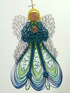Quilled / Filigree Ornament - Heavenly Angel Adorned in a Vibrant Peacock Feather Green Gown with Lacy White Wings