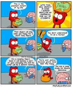 Funny Cartoons, Funny Comics, Funny Jokes, Hilarious, Funniest Memes, Funny Sayings, Akward Yeti, The Awkward Yeti, Heart Vs Mind