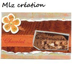 Carte anniversaire, thème gourmandise, coloris orange et marron