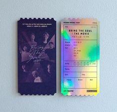 Movie ticket in Korea😍❣ Bts Concert Tickets, Movie Tickets, Foto Bts, Bts Home Party, Soul Movie, What Is Digital, Ticket Design, Bts Merch, Movie Releases
