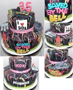Splatter paint cake. I love the 90s cake. All things 90. 1990 cake. Retro party cake. Entirely edible includes troll doll, cell phone, nintendo controller, cassette tape, head phones, saved by the bell, fresh prince, I heart the 90s, friends and 90210 logo. #poshcakedesigns.com #birmingham al