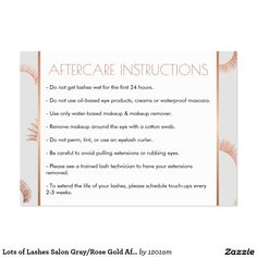 Lash Extensions Salon Gray/Rose Gold Aftercare Card