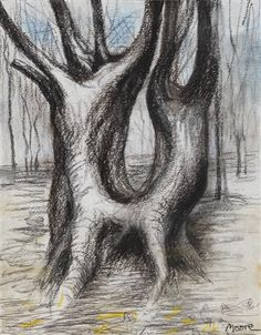 Henry Moore (British, 1898–1986), Tree Trunk, 1981, charcoal, gouache, wash, crayon, pencil, pen and ink and pastel on paper, 32.3 x 25.4 cm