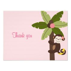 Girl Monkey Jungle Thank You Note Cards Custom Announcement