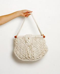 Vintage Macrame Wood Boho Hippie Crochet Fringe by BOLOvintage