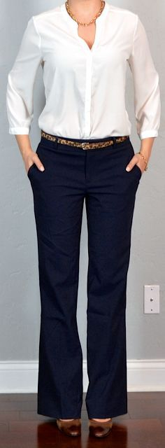 Outfit Posts: outfit post: white crepe blouse, navy pants, leopard belt, brown mary janes