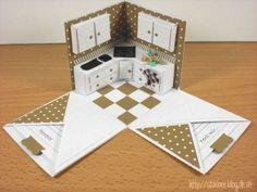 stampin up, cameo silhouette, new kitchen, exploding box Exploding Box Template, Exploding Box Card, Scrapbook Box, Scrapbooking, Card In A Box, Pop Up Karten, Tarjetas Pop Up, Kindergarten Crafts, Magic Box