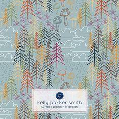 A rainy forest line-work pattern by Pattern Camper & Surface Pattern Designer Kelly Parker Smith.