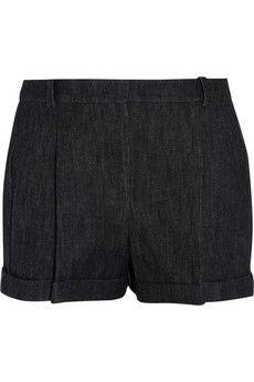 Michael Kors Pleated denim shorts | NET-A-PORTER