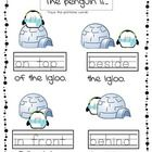 Free! Winter Position Words….Great resource for beginning of positional word unit.