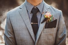 peach rose boutineer, grey groom's suite // A Fist Full of Bolts // Thistle SF // Events by Satra