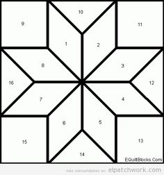 Best quilting designs for blocks patchwork ideas Quilt Square Patterns, Barn Quilt Patterns, Paper Piecing Patterns, Patchwork Patterns, Star Patterns, Pattern Blocks, Square Quilt, Patchwork Ideas, Quilting Patterns