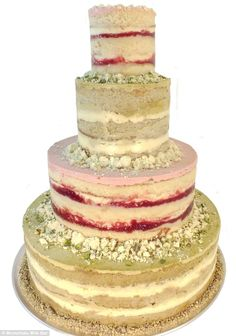 Colorful: This $675 four-tier Momofuku cake is flavored with pistachio and strawberry lemon