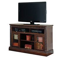 Dark Brown TV stand shown on a white background