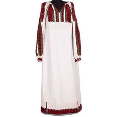 A piece of traditional Romanian clothing hand sewn in the first half of the 20th century (1935-1945), originally from Argeș. It is a garment made of cotton cloth, decorated with red and black cotton thread and yellow beads. The blouse is a special item, enriched with precious elements. #florideie #fashion #traditional #red #colorful #design #romania #brand #motifs #gold #dress #woman #vintage #handmade #embroidery Gold Dress, Cotton Thread, Hand Sewn, Romania, Black Cotton, Cold Shoulder Dress, Colorful, Traditional, Embroidery