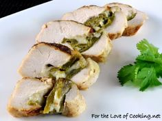 Green Chile and Pepper Jack Cheese Stuffed Chicken. I'm making this for dinner tonight!