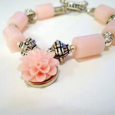 Pink Bracelet Silver Jewelry Flower Charm by jewelrybycarmal, $25.00