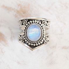 Cut Navajo Ring Rainbow Moonstone Ring Moonstone by DonBiuSilver