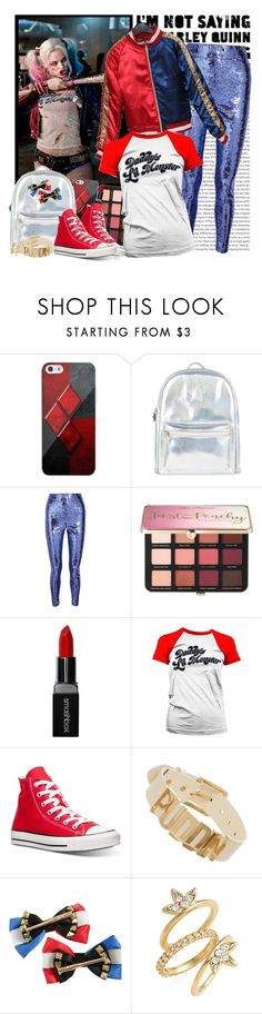 """""""Inspired by Harley Quinn"""" by fashionistlady ❤ liked on Polyvore featuring Oris, Samsung, Accessorize, Gucci, Sephora Collection, Smashbox, Converse, DC Comics and Luv Aj"""