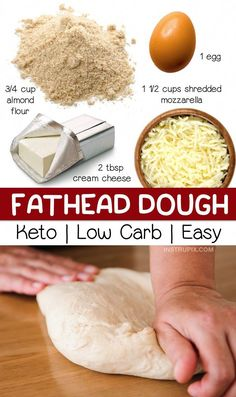 Quick & Easy Fathead Dough Recipe: Looking for easy keto recipes? This low carb pizza crust is made with just 4 simple ingredients! It's perfect for a quick and easy lunch, dinner or weeknight meal. This keto pizza dough is gluten free, keto friendly, and Low Carb Pizza, Low Carb Keto, Diet Pizza, Pizza Pizza, Keto Carbs, Low Carb Lunch, Diet Recipes, Cooking Recipes, Healthy Recipes
