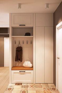 Patchwork tiles and earth tones for an apartment interior - . - Welcome My Home Hallway Furniture, Entryway Decor, Door Entryway, Art Furniture, Flur Design, Beton Design, Concrete Design, Hall Design, Patchwork Tiles