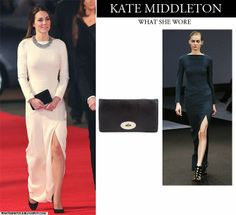 Kate Middleton Duchess of Cambridge in white long sleeve Roland Mouret gown with black clutch and black pumps