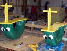 DIY one child rockers. Playground ideas backyard fun toddler toys DIY one child rockers. Diy Playground, Playground Design, Children Playground, Toddler Toys, Kids Toys, Baby Toys, Tire Craft, Diys, Tyres Recycle