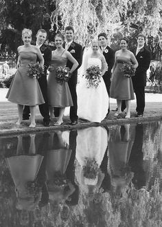 Photographers image by : Anthony T Reynolds Photographics:Grey scale image from a negative,with Mel & Gabe & the wedding party.