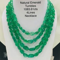 Best Quality Natural Emerald Tumbles Necklace
