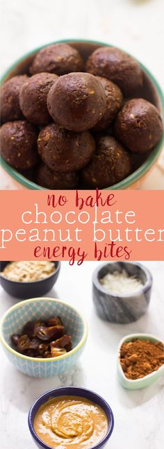 These No Bake Chocolate Peanut Butter Energy Bites are made with only 5 ingredients, vegan and gluten-free and are a perfect quick healthy breakfast or snack! via https://jessicainthekitchen.com