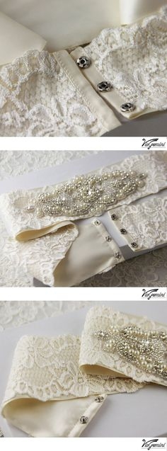 Wedding Sash, Heirloom Lace Bridal Sash, Cream and Ivory crystal sash, Couture Rhinestone Bridal Belt. $185.00, via Etsy.