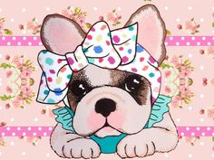 Shop Pink French Bulldog Paper Plates created by Backwoodsy. Personalize it with photos & text or purchase as is! Pugs, Images Vintage, Puppy Party, Animal Paintings, Dog Art, Illustrations, Fur Babies, Cute Dogs, Cute Pictures