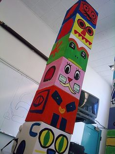 Create a Classroom Totem Pole: review the culture, the colors used in totems, the artwork style, etc before the project - although totems usually use primary colors, black, and white, we also taught them how to create secondary colors and had them use their new colors in their totem - stack individual totem pieces for a large totem pole-maybe make this into cell parts?
