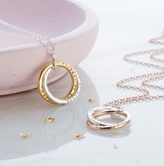 A stunning Personalised Interlinking with Gold with two beautiful rings entwined symbolising everlasting love and friendship. Inspired by our bestselling Personalised Interlinking Names Necklace the . Crescent Necklace, Jewelry Photography, Name Necklace, Diamond Heart, Mother Day Gifts, Beautiful Rings, Sterling Silver Rings, Fine Jewelry, Jewellery