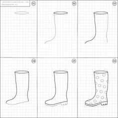 How to draw rainboots.