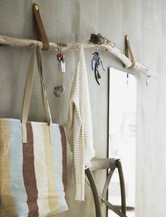 Like the leather straps for hanging it up, re. diy driftwood decor ideas home wall coat rack hallway