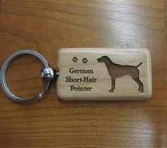 German Shorthaired Pointer Wood Keychain by DaybreaksPet on Etsy