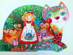 Chat chouette - Peinture,  40x30 cm ©2016 par Oxana Zaika -                                                            Art déco, Papier, Chats, chat, chats, hibou, fantasy
