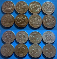 1952 - 1961 Sweden Silver 50 Ore Lot COMPLETE 8 COIN RUN! Inc Key Date 1955 TS Listing in the Sweden,Europe (Non & Pre €),Coins,Coins & Banknotes Category on eBid United States