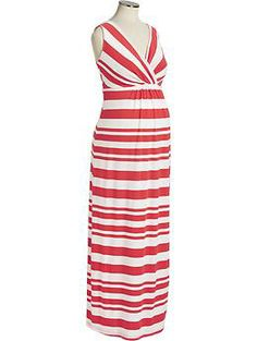 Maternity Striped Cross-Front Maxi Dresses | Old Navy Good for maternity and nursing!