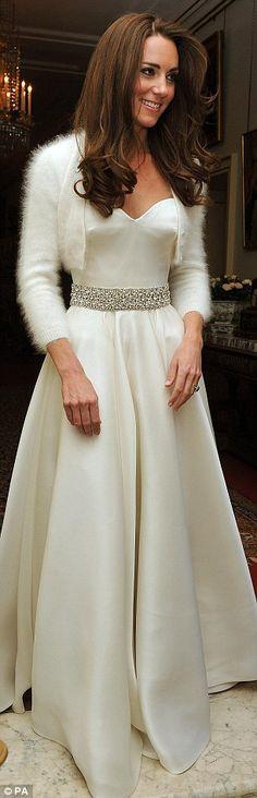The Duchess of Cambridge wearing her evening Wedding Dress and White Angora Bolero Cardigan