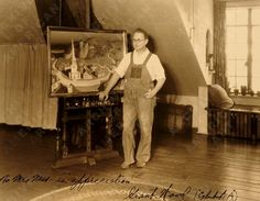 Grant Wood in his studio in Cedar Rapids, Iowa, in 1931 standing in front of the unfinished The Midnight Ride of Paul Revere. Wood also painted American Gothic.  photo by John Barry Jr.