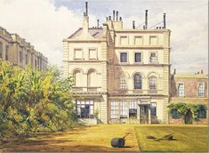 1851.   How Clarence  House looked when the Duchess of Kent, mother of Queen Victoria lived there.  The house was quite smaller than it is now.  Instead of 4 stories, it was only three.  Also, the house was later widened and reconfigured inside.