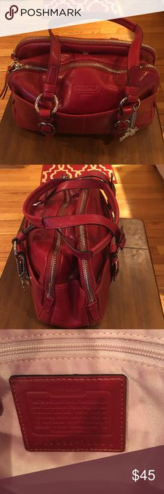 Coach Satchel Lovingly Used Lovingly uses but very clean Coach Satchel.Red with silver hardware.Has 2 zippered compartments and one with magnetic closer. See pix for stain. Coach Bags Satchels
