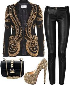 chardline:  Gold by chardline-chanel-faiteau featuring stretch leather pants Emilio Pucci / Plein Sud stretch leather pants, $1,125 / Christian Louboutin studded heels / Valentino shoulder handbag