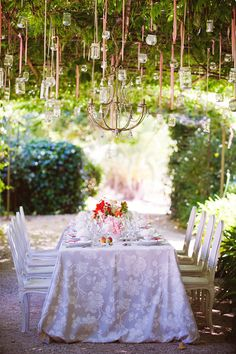 Hang votives adorned with blowsy flower heads on lengths of coloured ribbon for an ethereal touch. Wedding Story, Our Wedding, Dream Wedding, Wedding Table, Wedding Ideas, Fresco, Outdoor Dinner Parties, Beautiful Farm, Garden Arbor