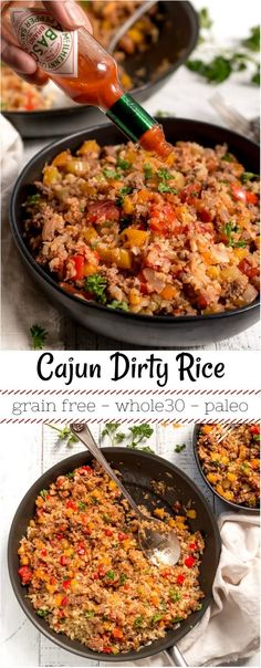 Just in time for Mardi Gras, thisCajun Dirty Rice Recipe has all that great New Orleans flavor while packing a ton of nutritious vegetables! This cajun rice is Gluten Free, Grain Free, Dairy Free, Whole30 and Paleo compliant with Vegan options. Perfect for enjoying Mardi Gras food in a healthier way. #grainfree #paleohacks #paleodiet #whole30 #whole30recipes