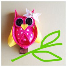 Pink Owl Ribbon hair clip. Free Promo Ship. by BoutiqueByViktoria