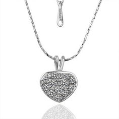 White Gold Plated Crystal Inlay Heart Necklace